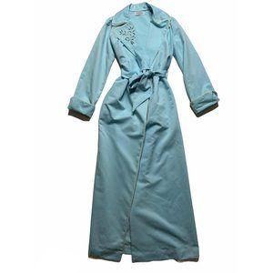 Vintage Womens Robe Housecoat Belted Blue Floral M